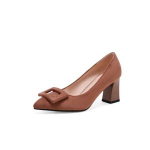 ELEISE美国艾蕾莎新品020-H4-1韩版磨砂绒面高跟粗跟女士玛丽珍鞋
