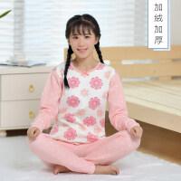 冬季青少年学生加绒加厚保暖内衣套装少女大童可爱圆领厚秋衣秋裤 粉色花朵 WD812