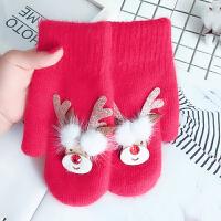 羊绒韩版可爱手套女冬卡通保暖加绒加厚连指骑车羊毛圣诞鹿手套女