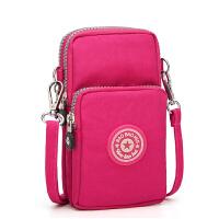韩版手机包女斜跨手腕零钱包挂脖手机袋迷你小包包竖 玫红色 斜跨手机包