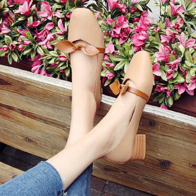户外单鞋韩版仙女单鞋休闲时尚休闲百搭中粗跟女鞋
