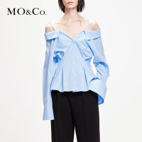MOCO2019春季新品纯棉一字领露肩衬衫上衣MAI1TOP021 摩安珂