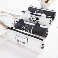 韩国创意可爱猫咪笔袋三角 简约卡通大容量女生铅笔袋文具盒