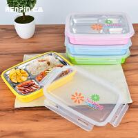 仁品不锈钢304分格饭盒长方形成人餐盒可爱韩式2层保温学生便当盒
