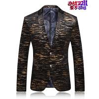 土豪金男士西服青年个性时尚西装春装新款男式便服单西男外套大码 虎纹金