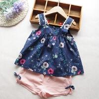 女童套装2018夏季新款女宝宝蕾丝吊带衫背心+蝴蝶结短裤两件套装