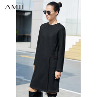 Amii[极简主义]宽松显瘦 羊毛呢连衣裙 2017冬装新黑色腰带中长款