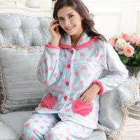 长袖珊瑚绒睡衣女大码加厚加绒法兰绒甜美保暖家居服套装 支持礼品卡支付