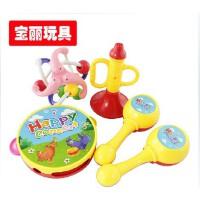 宝丽音乐互动乐趣组合摇铃 欢乐喇叭/沙锤/健力球4件套儿童玩具