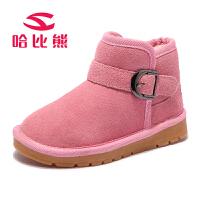 20180416215216802哈比熊童鞋女童靴子冬款保暖儿童雪地鞋冬季棉靴中筒靴子男童短靴GW253H9
