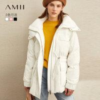Amii港风宽松90鸭绒轻薄羽绒服女2019冬季新款高领收腰中长款外套