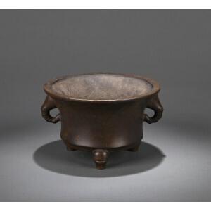 清代代宫廷风格铜竹节法盏炉