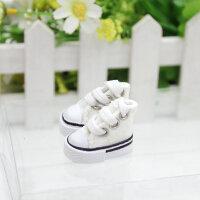 3.5CM迷你帆布小鞋子芭比娃娃挂件创意礼品跳手指舞鞋 白色 (2只)
