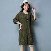 年新款秋冬季女装套头宽松中长款针织连衣裙时尚韩版显瘦潮