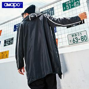【限时抢购到手价:205元】AMAPO潮牌大码男装秋季胖子连帽长款风衣加肥加大码宽松肥佬外套