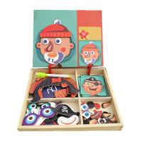磁性力拼图积木儿童智力玩具画板人物五官贴3 4 5 7岁早教具