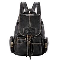 双肩包女新款包包学院大学生书包软皮包迷你旅行背包 【钩扣】黑色