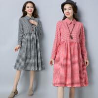 秋装新款女连衣裙显瘦韩版气质格子中长裙宽松大码女装裙子