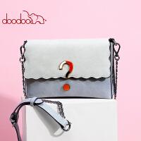 【支持礼品卡】doodoo包包女2018新款个性拼色链条包韩版时尚单肩斜挎包女包春夏