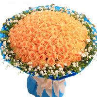 ????19朵香槟玫瑰礼盒 上海鲜花速递友情生日道歉花束同城花店送花 喜迎国庆