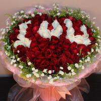 520情人节33朵红粉紫香槟玫瑰礼盒花束预订上海教师节鲜花速递订花当天送花