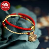 凤凰涅磐红绳手链女本命年平安锁一对情侣原创设计民族风复古学生