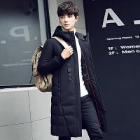 羽绒服男中长款韩版修身加厚青年过膝连帽商务休闲外套帅气羽绒衣