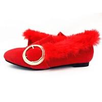 新款红色平底结婚鞋新娘鞋冬季孕妇礼服婚纱加绒敬酒鞋女单鞋 红色