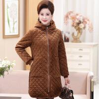 中老年女装秋冬装新款金丝绒棉衣大码妈妈装加厚保暖绣花外套