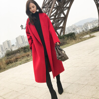 毛呢外套女2018冬装新款韩国中长款过膝宽松显瘦加厚红色呢子大衣