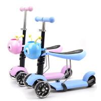 儿童滑板车 宝宝三合一可坐骑踏板车三轮闪光滑滑车2-3岁
