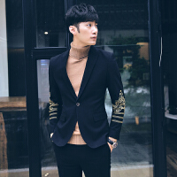 男士秋冬新款英伦西服韩版男士绣花西服单扣西装青年时尚小西装潮男外套