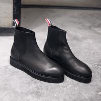 欧美厚底增高男靴英伦真皮套筒切尔西短靴潮男韩版复古男靴 黑色
