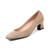 ELEISE美国艾蕾莎新品020-H11-4韩版磨砂绒面中跟粗跟女士单鞋