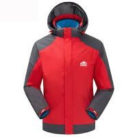 男女款户外三合一两件套冲锋衣 防泼水滑雪保暖登山滑雪服外套 石榴红-男款 M