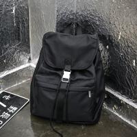 双肩包男尼龙防水背包牛津布休闲简约旅行包女韩版学生书包大容量 黑色