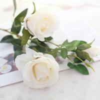 仿真玫瑰花假花艺家居装饰客厅餐桌摆设摆件绢花干花单支花卉