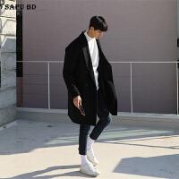 韩版双排扣羊绒大衣男中长款青年宽松毛呢大衣男风衣秋冬外套