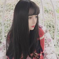 网红流行假发女长直发空气薄刘海自然逼真气质修脸中长发学生齐腰