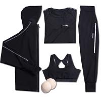 宽松大码跑步瑜伽运动套装女胖mm外套哈伦专业运动健身服女潮秋冬 黑色