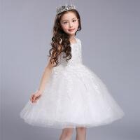 儿童演出服婚纱主持人礼服夏公主裙女童蓬蓬连衣裙白纱裙中大童粉