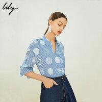 【限时一口价269元】Lily2019新款复古文艺波点条纹印花宽松中袖衬衫女119240C4137