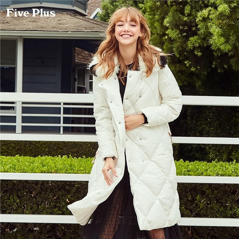 Five Plus新款女冬装真毛领羽绒服女长款宽松双排扣外套大衣长袖 真毛领羽绒服外套
