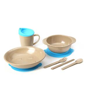 当当优品 壳氏唯稻壳环保儿童餐具套装 筷叉勺水杯进口宝宝婴儿吸盘碗 3(海蓝)