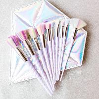 少女心10支独角兽化妆刷包套刷彩妆眼影腮红刷全套美妆工具初学者 10支蓝紫钻石化妆刷 人造纤维