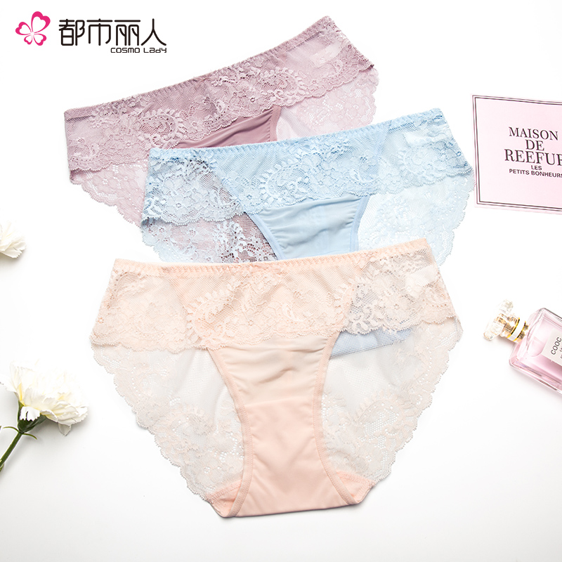 【都市丽人】内裤女士性感时尚蕾丝透明舒适女士内裤三角裤2K8201