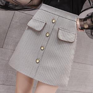 AGECENTRE 2018春装新款 春季春季复古小香风千鸟格高腰显瘦包臀扣子半身短裙