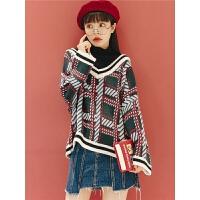 格子针织衫长袖冬季2019新款女秋韩版假两件拼接宽松高领毛衣外套