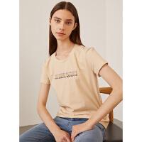 红袖/HOPESHOW字母亮丝刺绣圆领套头T恤