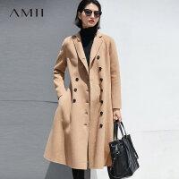 Amii[极简主义]大气 双排扣100%羊毛双面呢外套 2017冬新X型大衣